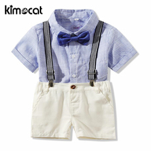Kimocat Baby Boy Clothes Summer Style Short Sleeve Newborn Clothes Geltleman Cotton Shirt Strap Gentleman Boys Clothing Set casual summer gentleman style kids boys clothing sets cotton sling strap costume shirt short jeans boys clothes suits
