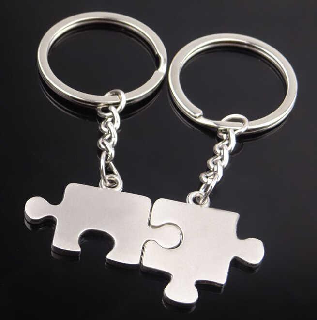LLavero de puzle Lover-llavero de diseño de puzle para coche llavero Linda cadena en forma de corazón para hombre mujer, regalo 17291