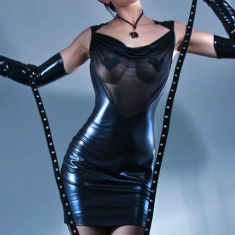 New Hot Selling Plus Size S-XXXL Sexy PVC Leather Dress Women Mesh V-Neck Backless Clubwear Back Mini Dress Sexy Costume