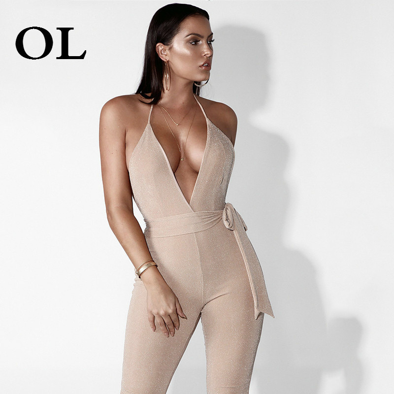 [OL] 2018 spring summer new hot fashion sling Shiny solid skinny V season girdle jumpsuit lace up pants woman T180