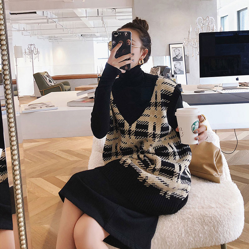 Large size women s dress 2018 autumn and winter new chubby sister chic underage sweater vest