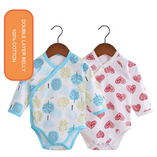 Neutral Baby Onesies Cartoon Japanese Style Not Hooded Long Sleeve Cotton Triangular Climb Covered Button SH1002