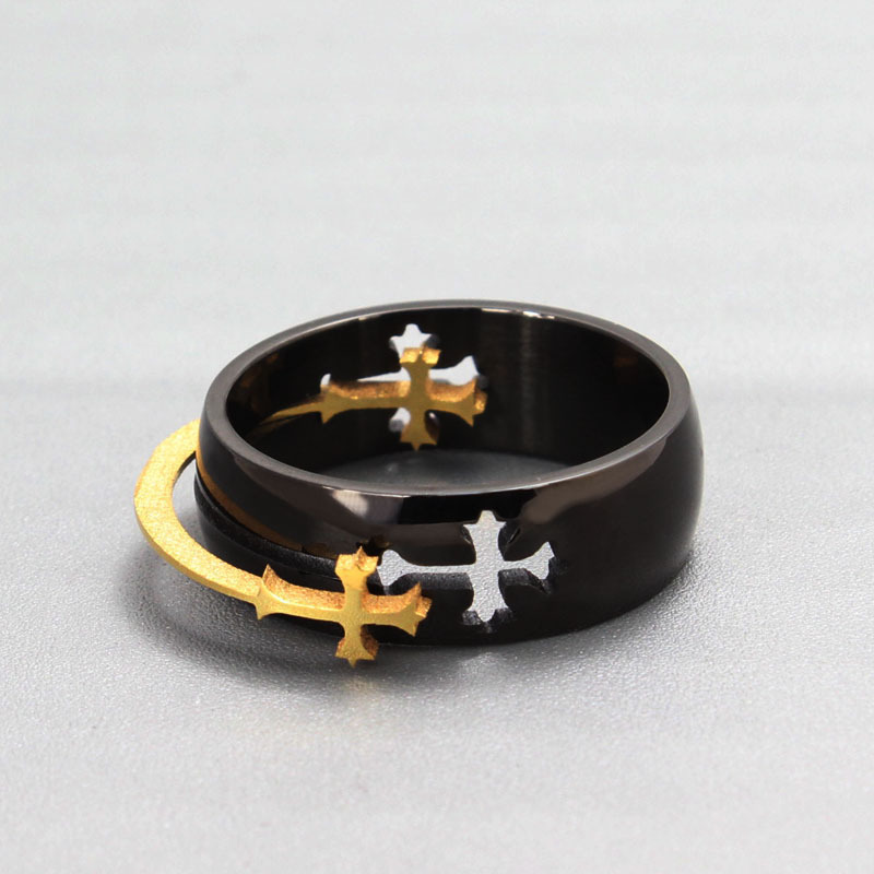 Vintage punk black ring titanium steel removable gold-color cross rings men fashion jewelry anel masculino anillos bague