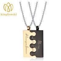 Necklace Puzzle Couple Necklace Couple Pendant Necklace Stainless Steel Jewelry Titanium Steel Necklaces Pendants