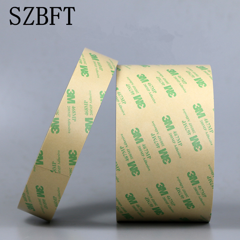 SZBFT 3M 467mp 10mm*55 M Ultra Thin 3M 467MP 200MP Adhesive Double Sided Sticky Tape High Temp. Resist Nameplate Bond 5x 0 06mm thickness 10mm 55m ultra thin 3m 467mp double sided adhesive film tape for laptop pc gps nameplate switch bond