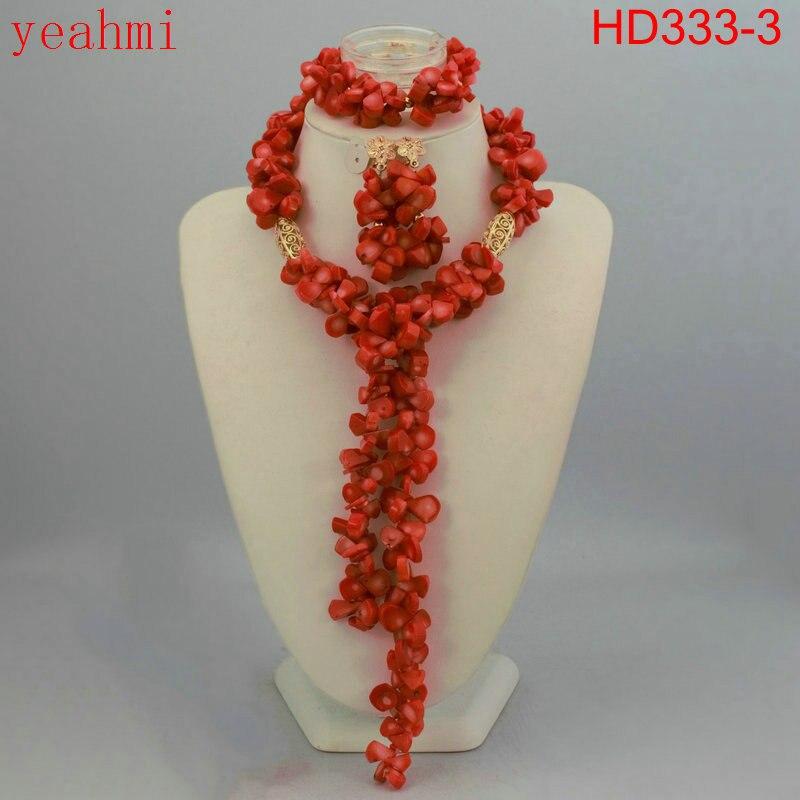 Nigérian corail bijoux ensembles corail perles collier ensemble nigérian africain mariage perles bijoux ensembles livraison gratuite HD333-1