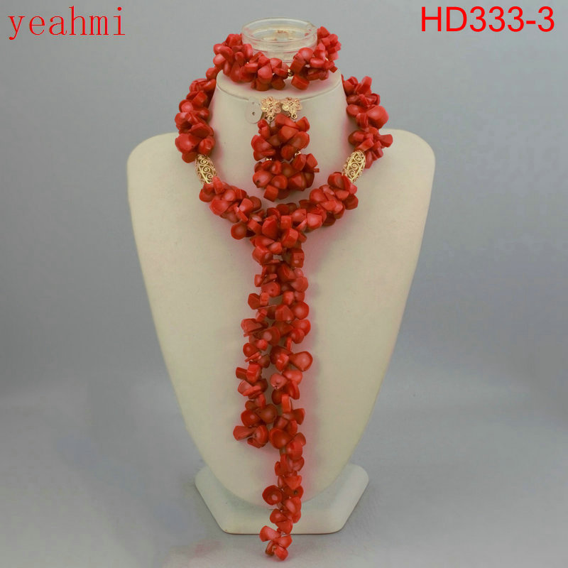 Nigeria Coral Jewelry Set Coral Beads Kalung Set HD333-1 Nigeria - Perhiasan fashion - Foto 1