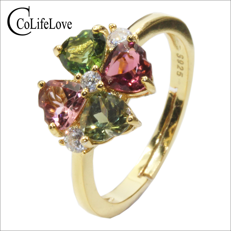 CoLife Jewelry 925 Silver Tourmaline Ring for Party 4pcs Natural Tourmaline Silver Ring Yellow Gold Color Silver RingCoLife Jewelry 925 Silver Tourmaline Ring for Party 4pcs Natural Tourmaline Silver Ring Yellow Gold Color Silver Ring
