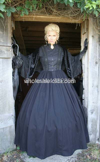 2014 Hot Sale Time-limited Natural Floor-length Ball Gown O-neck Full None Satin Victorian Dress Civil War Styled Gown / Party