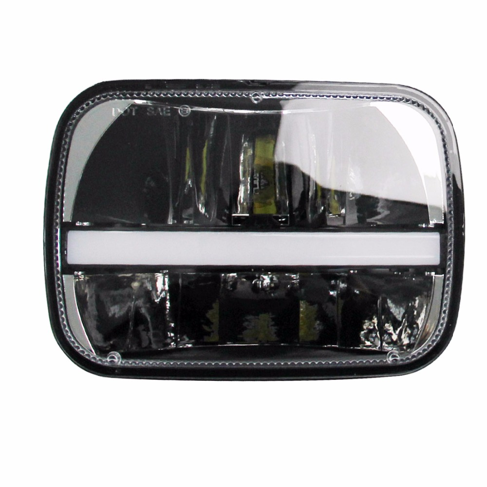 купить 5x7 LED Headlight with DRL Square 6x7 Truck Headlamp For Jeep 1984 to 2001 XJ Cherokee Jeep 1987 to 1995 YJ Wrangler по цене 7071.74 рублей