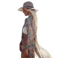 Summer Beachwear Boho Print Chiffon Blouse Shirt Long Cardigan 2017 Casual Sexy Kimono Shirts Women Beach