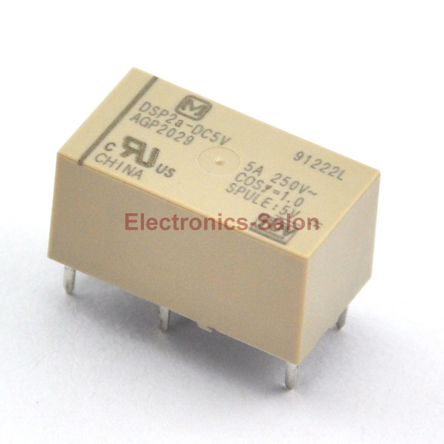 ( 2 Pcs/lot )  DSP2a-DC5V Small Polarized Power Relay, 2 Form A, DPST.
