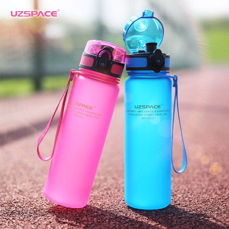 Uzspace Water Bottle Tritan Material Drinkware protein shaker Camping Hiking Sport My Drink Plastic Bottle 500&1000ml Bpa Free