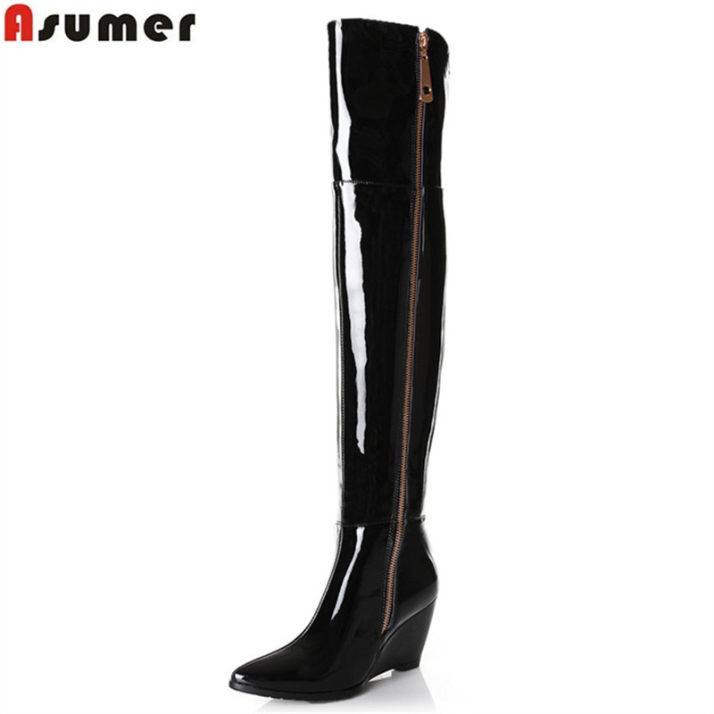 цены ASUMER 2018 hot sale new arrive women boots fashion genuine leather over the knee boots pointed toe zipper wedges boots