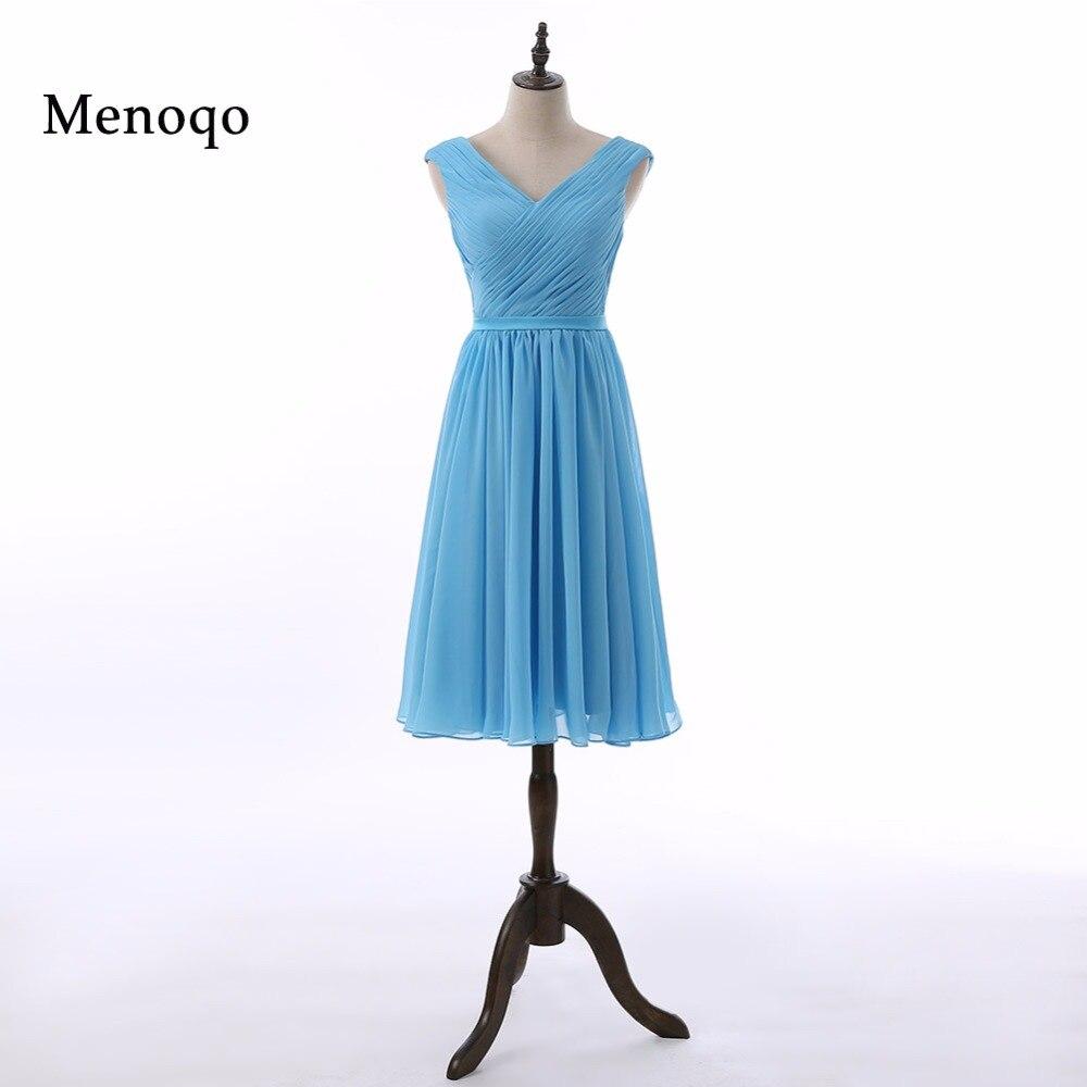 Menoqo V cou demoiselles d'honneur robes pli qualité belle courte robe de soirée de mariage nouvelle robe de bal robe expédition rapide