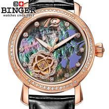 Schweiz Binger frauen uhren mode luxus uhr lederband automatische winding mechanische Armbanduhren B 1132L 4