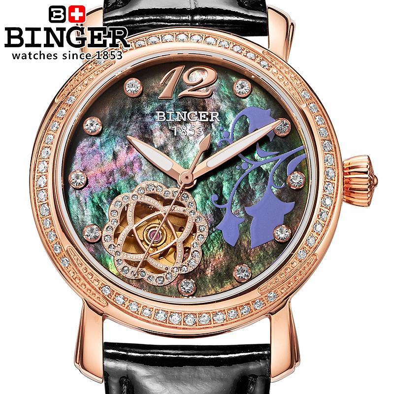 Suisse Binger Femmes de montres de mode de luxe montre bracelet en cuir mécanique à remontage automatique Montres B-1132L-4