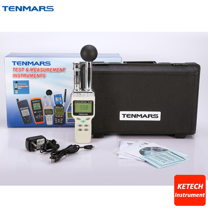 Handheld Heat Stress Wet Bulb Black Globe Temperature WBGT Humidity DEW Meter Tester USB with Datalogger 12K Readings TM188D