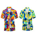 2015 новый летний пляж мода повседневная мужская с коротким рукавом футболки печать свободные увеличить размер L-XXXXL