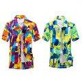 2015 nueva playa de verano moda casual hombres camisa de manga corta de impresión floja aumentar el tamaño L-XXXXL