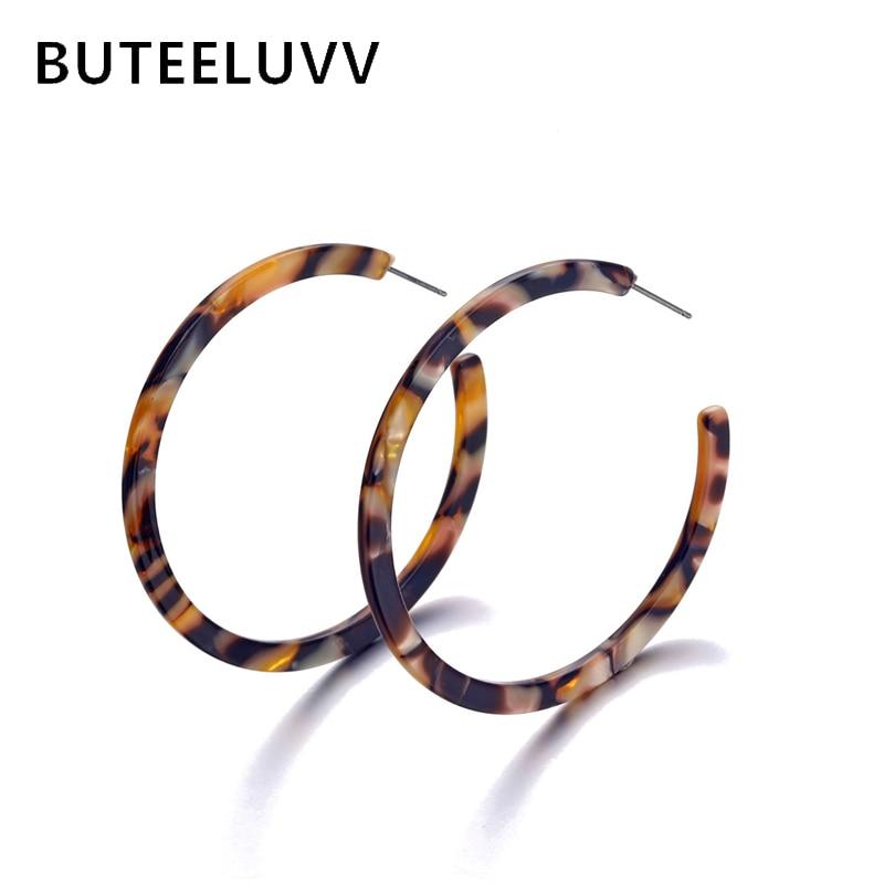 BUTEELUVV Vintage Tortoise Hoop Earrings Fashion Jewelry Elegant Coffee Red Geometric Round Acrylic Statement Earrings for Women
