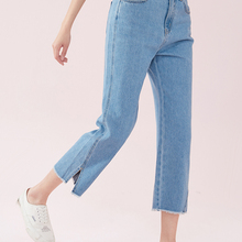 SEMIR Women 100% Cotton Wide Leg Cropped Jeans in Washed Den