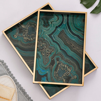 Rectange green Agate Tray Luxury Jewelry Tray Home Decoration Plates With Gold Frame Hand glass