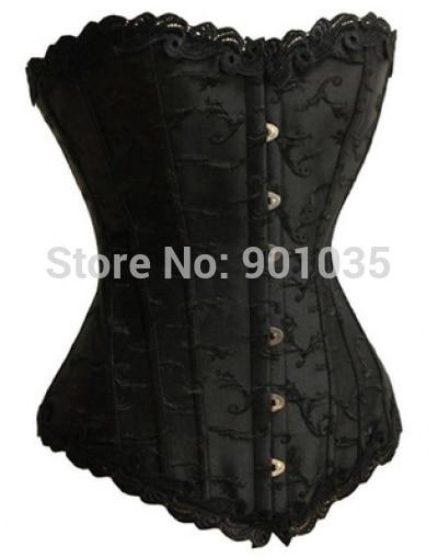 Doprava zdarma A1221-1 Black Satin Lace Up Korzet Boned Korzet Bustier plus velikost korzetu velikost S-6XL