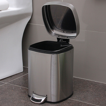 Square stainless steel foot pedal trash can household bathroom with covered paper basket wx10191547
