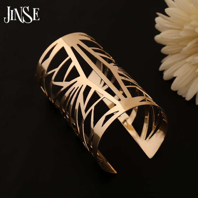 JINSE BGL024 2017 Fashion Punky Style Hollow Cuff Retro Braided Big Gold Bangles For Women Charm Vintage Multilayer Wide Bangle