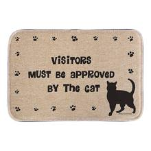 Entrance Doormat With Cat Sign Visitors Must Be Approved Cute Animals Home Decor Door Mats Short