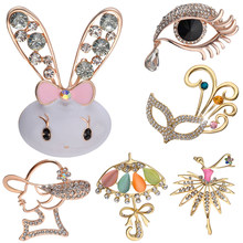 crystal rabbit pins brooches butterfly French lady pin full rhinestone dancing girl broches Mask umbrella pin Peacock feather(China)