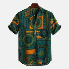 Гавайские рубашки, льняные рубашки, мужские рубашки на пуговицах, короткий рукав, круглый подол, свободные рубашки, галстук, Хенли, мужская рубашка, camisa masculina
