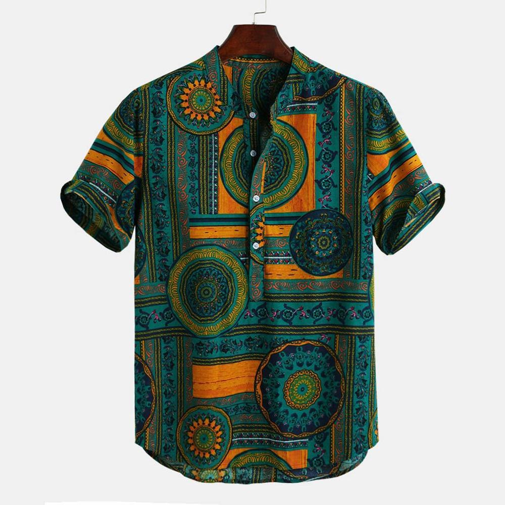 Hawaiian Shirts Linen Shirts Men Lump Chest Button Short Sleeve Round Hem Loose Shirts Tie Henley Men Shirt Camisa Masculina
