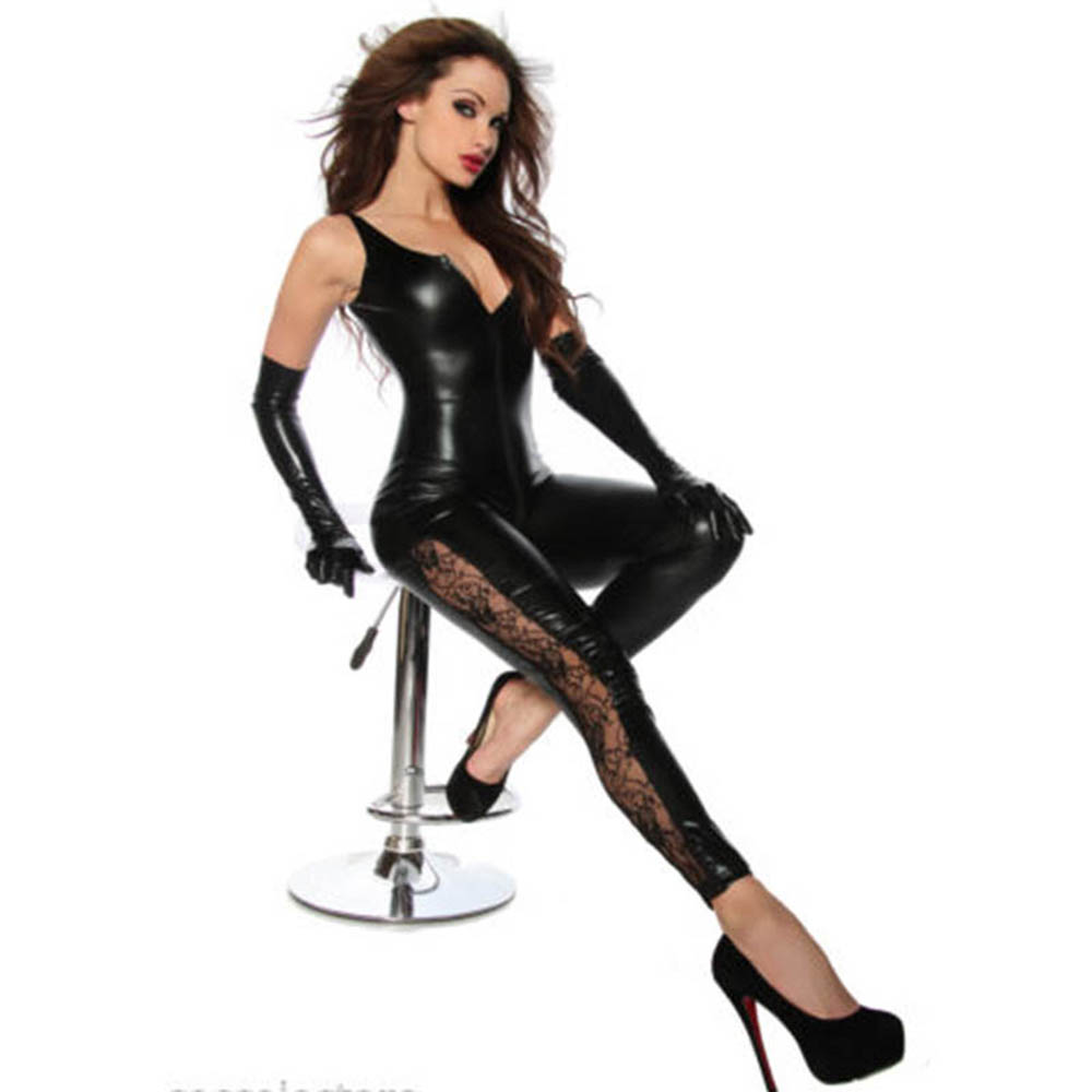 Débardeur noir vinyle longue combinaison body Unique dentelle jambes côté fermeture éclair à entrejambe femmes Faux cuir PU Club Catsuit W7984