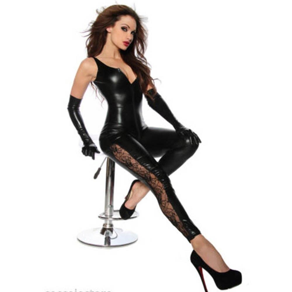 Tank Black Vinyl Long Jumpsuit Bodysuit Unique Lace Legs Side Zipper To Crotch Women Faux Leather PU Club Catsuit W7984