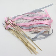 20piece Multicolour Ribbon Wand Fairy white Lace Wedding Wand Party holiday