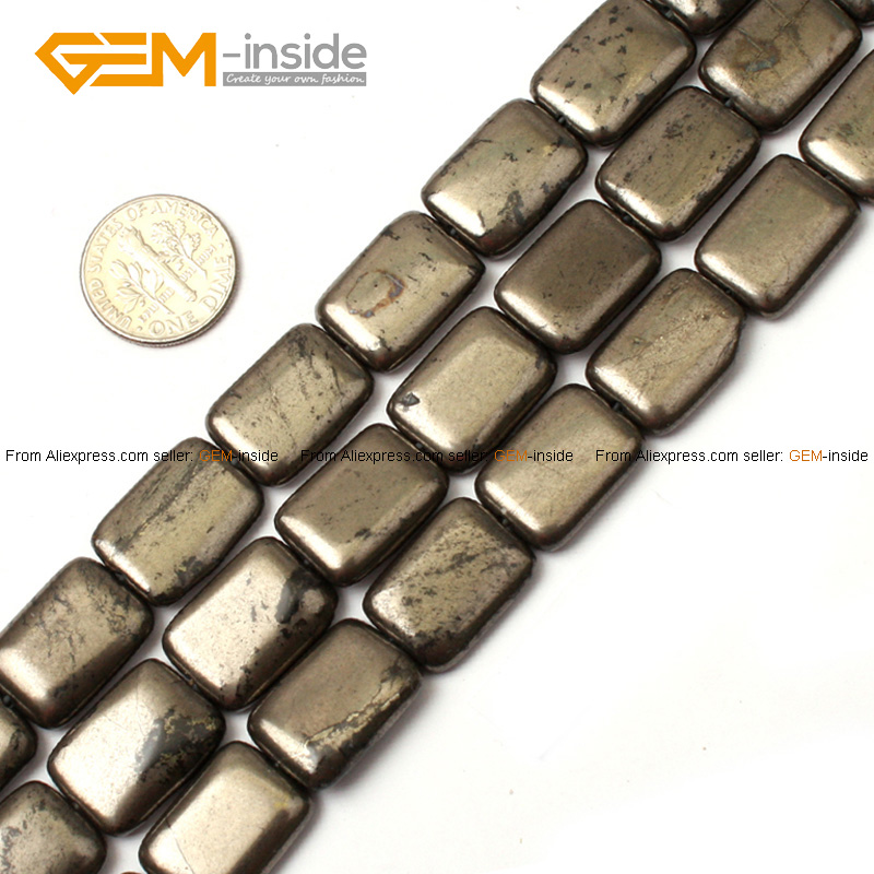 Natural Rectangle Silver Gray Pyrite Beads For Jewelry Making 8-13mm 15inches DIY Jewellery FreeShipping Wholesale Gem-inside