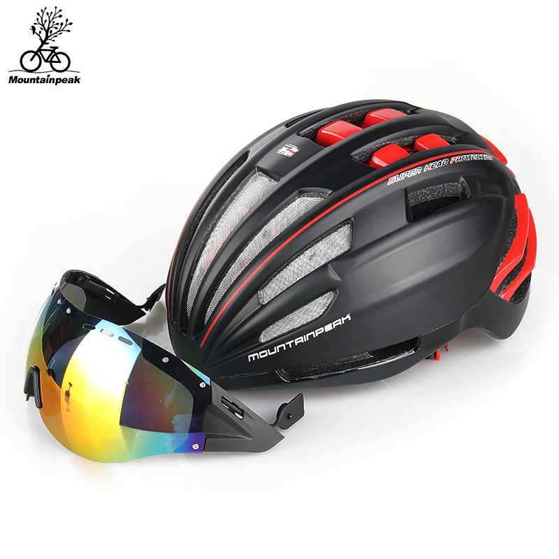 12 Patterns Mountainpeak Bicycle Helmet Goggles Cycling Helmet With Glasses Safe MTB Bicycle Accessories Riding Gear Men Women polarized sport cycling glasses men women bicycle sun glasses mtb mountain road bike eyewear biking sunglasses 2016 goggles tr90