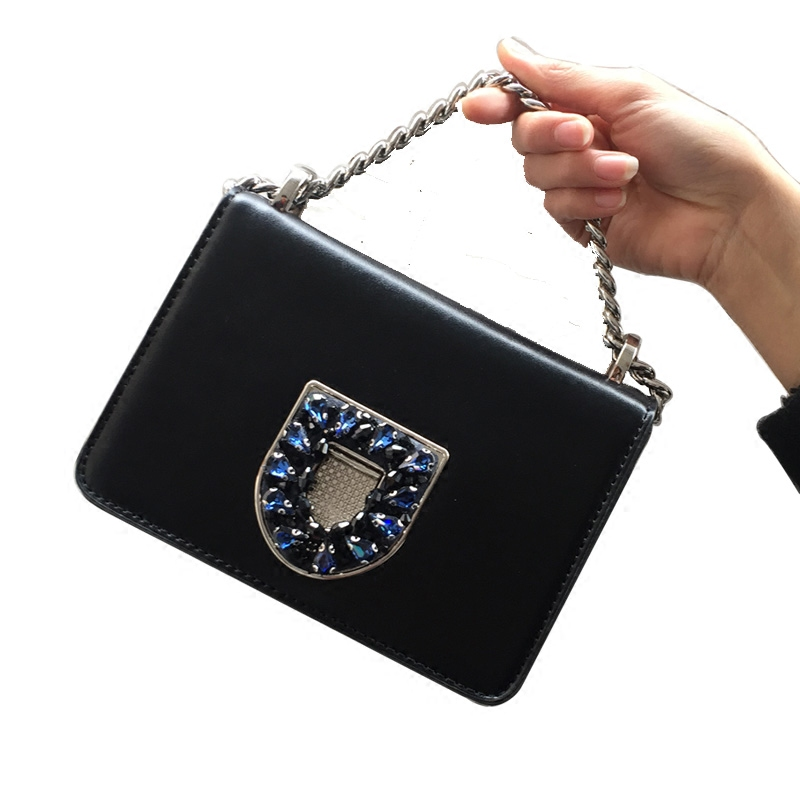 2018 Fashion Women Handbags Genuine Leather Diamonds Chains Hand Bag Flap Shoulder Messenger Crossbody Cow Leather Black Bags