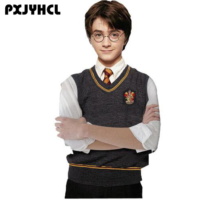 Gryffindor Slytherin Ravenclaw Hufflepuff Sweater Vest Cosplay Costume Wool Winter Anime Badge Waistcoat Top For Adult Women Men
