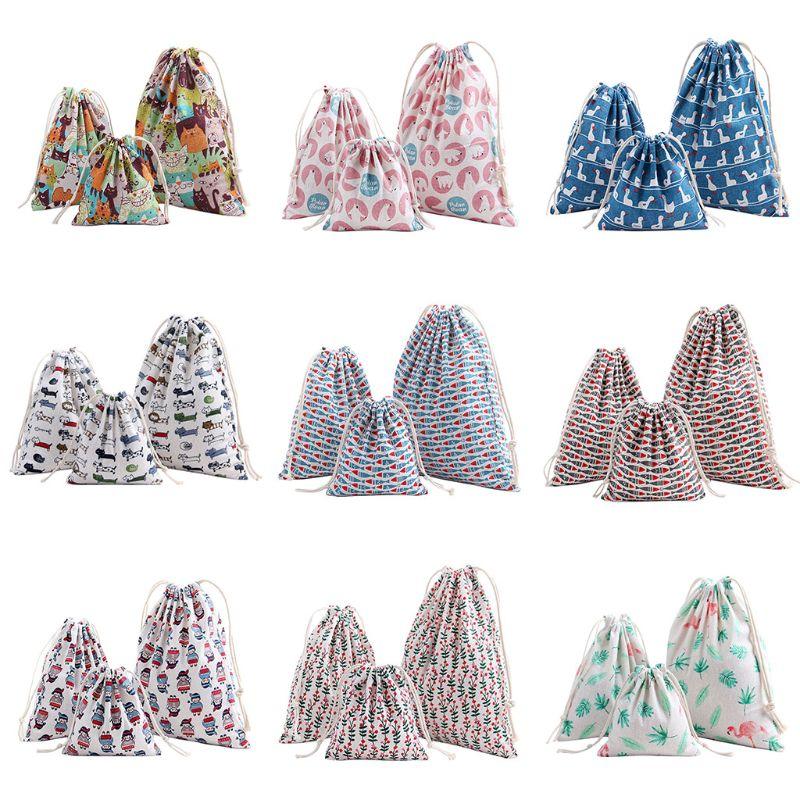 Portable Printing Drawstring Bag Beam Port Storage Shopping Travel Handbag Xmas Gift Bags