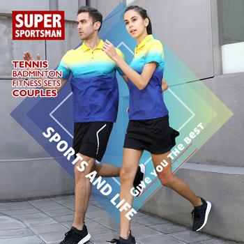 Mężczyźni kobiety pary Fitness trening bieganie garnitury Gym siatkówka spodenki tenis stołowy jednolite do trenowania w badmintona odzież sportowa tanie i dobre opinie Poliester WOMEN Krótki 20190705 Anty-pilling Przeciwzmarszczkowy Oddychające Szybkie suche Koszule Pasuje prawda na wymiar weź swój normalny rozmiar