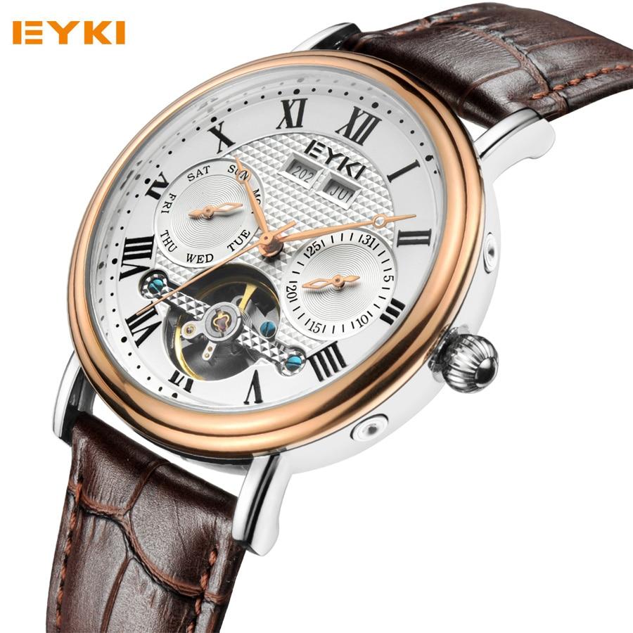 ФОТО EYKI Men's Automatic Watches Luxury Top Brand Leather Strap Date Business Mechanical Watch Fashion Waterproof Relogio Masculino