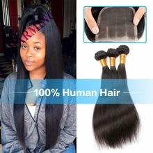 Charming Grade 8A Unprocessed Virgin Hair Brazilian Straight Hair 3 Pcs Weft & 1 pc Closure Human Hair Bundles With Lace Closure