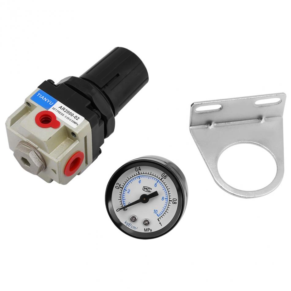 1 Pcs Air Filter Pressure Regulator AR2000-02 G1/4 Air Source Gas Treatment Unit Filter Pressure Regulator With Gauge bfr2000 air processor free shipping 1 4 pneumatic source treatment unit air filter pressure regulator