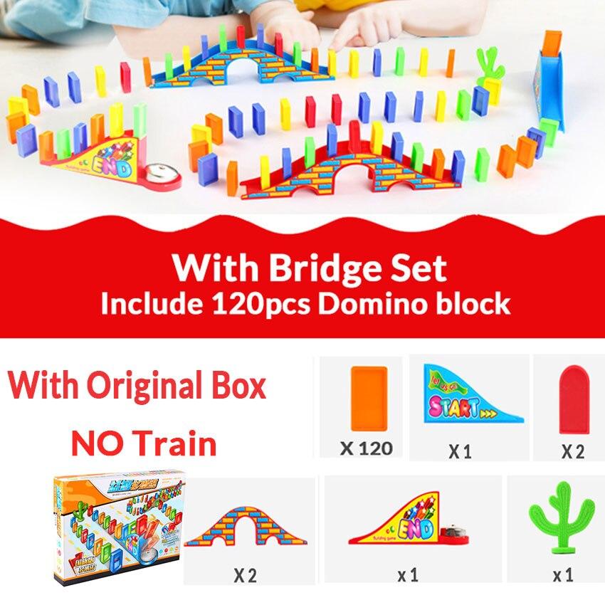 Автоматическая укладка домино кирпич Поезд Автомобиль набор звуковой светильник дети красочные пластиковые блоки домино игра игрушки набор подарок для девочек и мальчиков - Цвет: Bridge set W