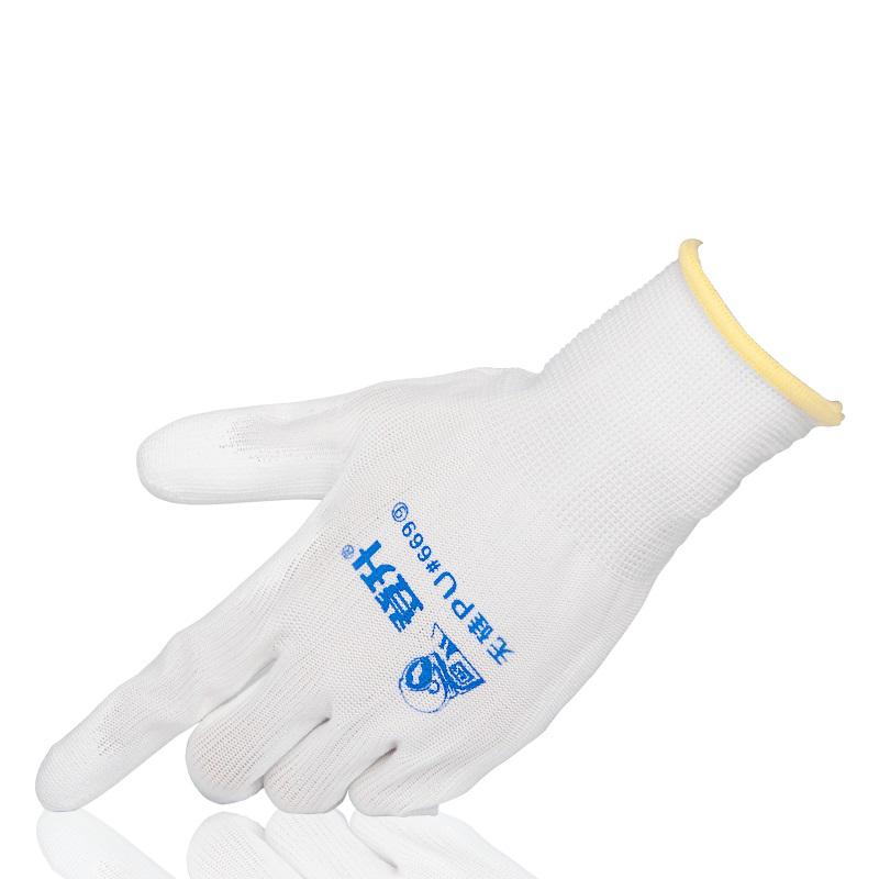 5/12 Pairs White Work Gloves Dipped Latex PU Coating Without Silicon Wear-resistant Assembly Workshop Precision Instrument