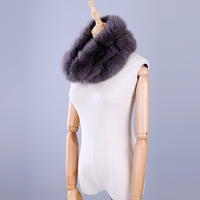 2017 Hot Brand New Genuine Real Silver Fox Fur Women S Lady Fur Scarf Scarves Ring