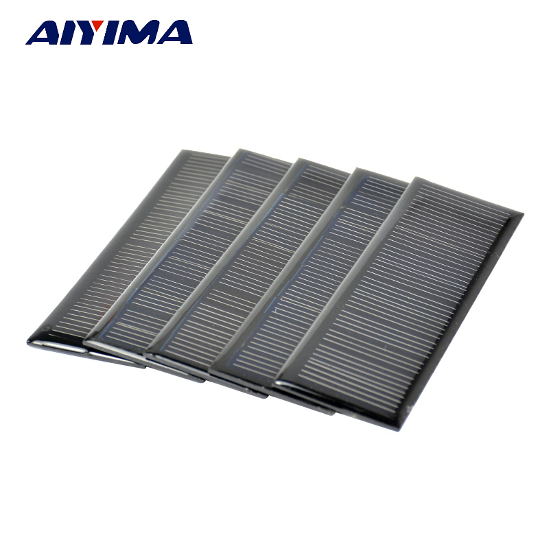 Aiyima 5Pcs 6V 0.6W Poycrystalline Silicon 0.1A Epoxy Solar Panels for DIY 120*38mm Solar Cells Lamp light Charger